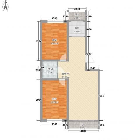 新苑小区2室1厅1卫1厨99.00㎡户型图