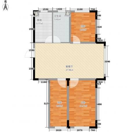 中央领地3室1厅1卫1厨70.88㎡户型图