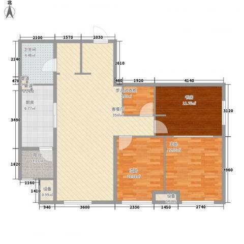 万科春河里3室1厅1卫1厨96.00㎡户型图