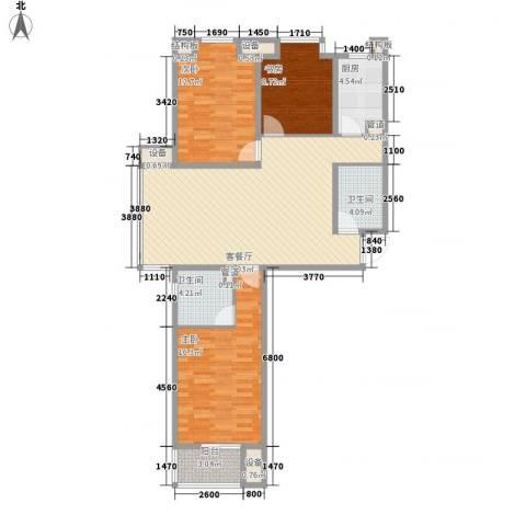 中环广场3室1厅2卫1厨122.00㎡户型图