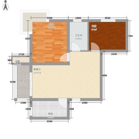 水岸丽景2室1厅1卫1厨54.54㎡户型图
