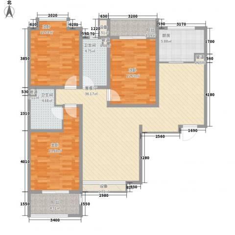 中环广场3室1厅2卫1厨134.00㎡户型图