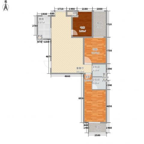 中环广场3室1厅2卫1厨114.00㎡户型图