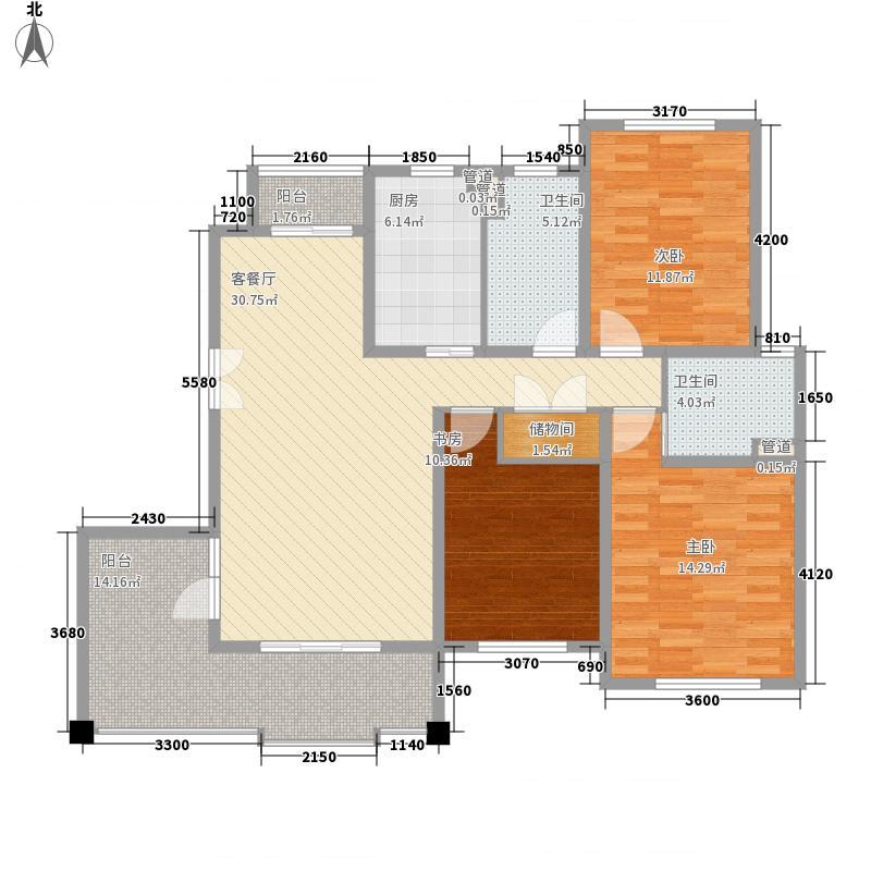 尚东国际名园二期141.31㎡A户型3室2厅2卫1厨
