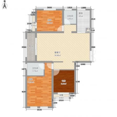 金色年华3室1厅2卫1厨116.00㎡户型图