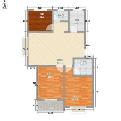 兴港商城3室1厅2卫1厨83.20㎡户型图