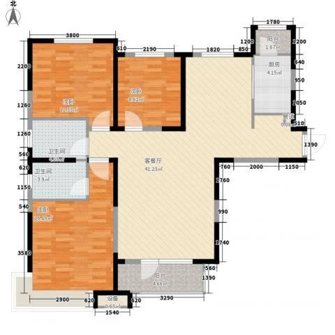 中海・紫御江城3室1厅2卫1厨140.00㎡户型图