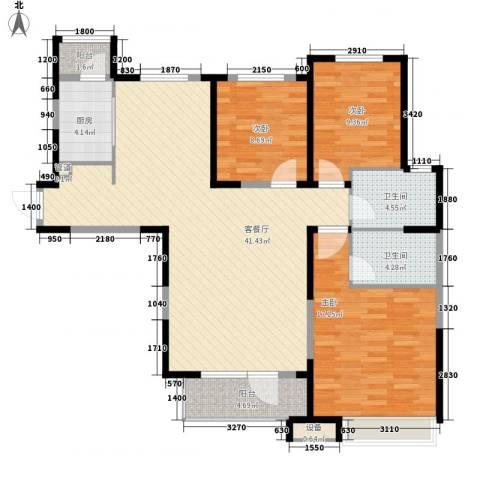 中海・紫御江城3室1厅2卫1厨138.00㎡户型图