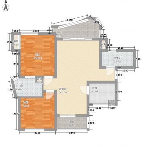 万宝威尼斯蓝湾2室1厅2卫1厨82.82㎡户型图