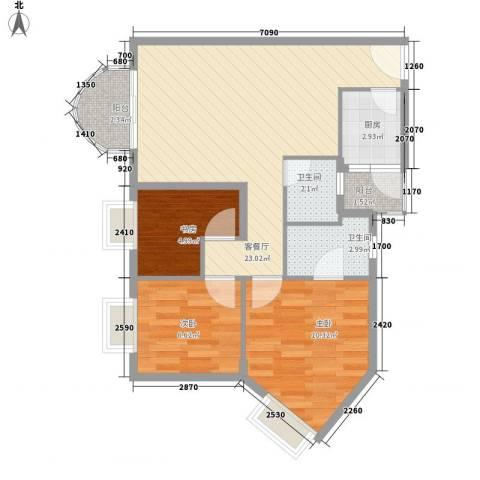 东部阳光花园3室1厅2卫1厨89.00㎡户型图