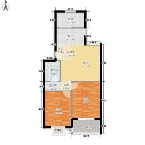 精信博雅园2室0厅1卫1厨79.00㎡户型图