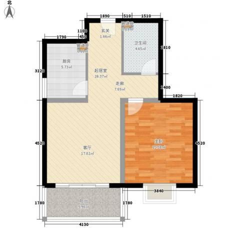 精信博雅园1室0厅1卫1厨67.00㎡户型图