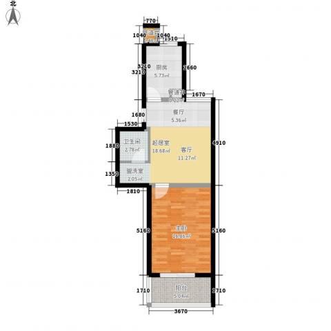 精信博雅园1室0厅1卫1厨58.00㎡户型图