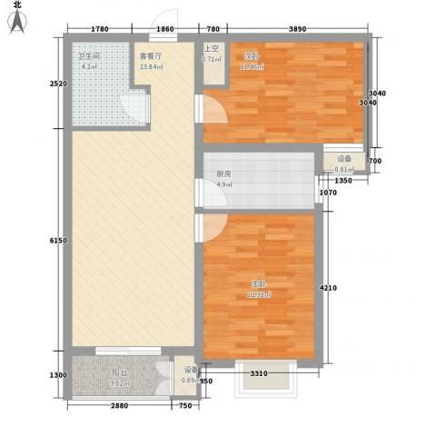 水岸丽景2室1厅1卫1厨61.81㎡户型图
