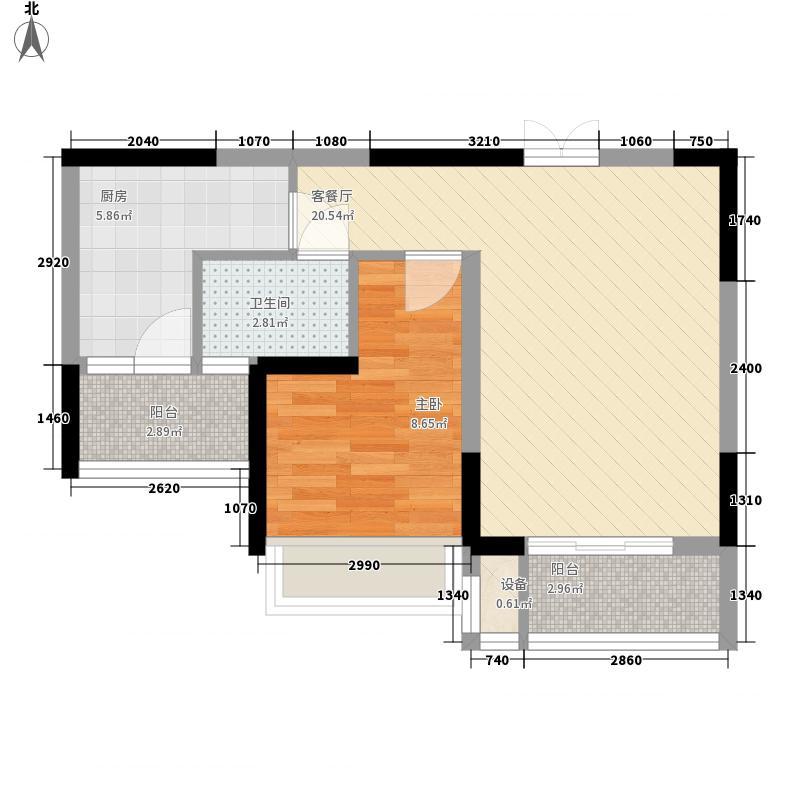 中国铁建国际城66.09㎡H-B2户型1室2厅1卫1厨