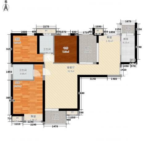 中海观园3室1厅2卫1厨126.00㎡户型图