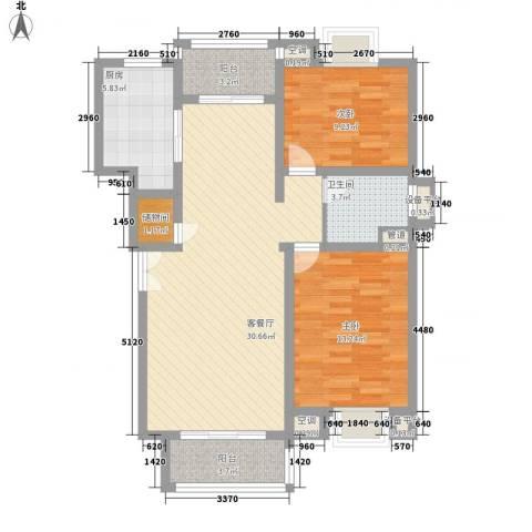 古北嘉年华庭2室1厅1卫1厨106.00㎡户型图