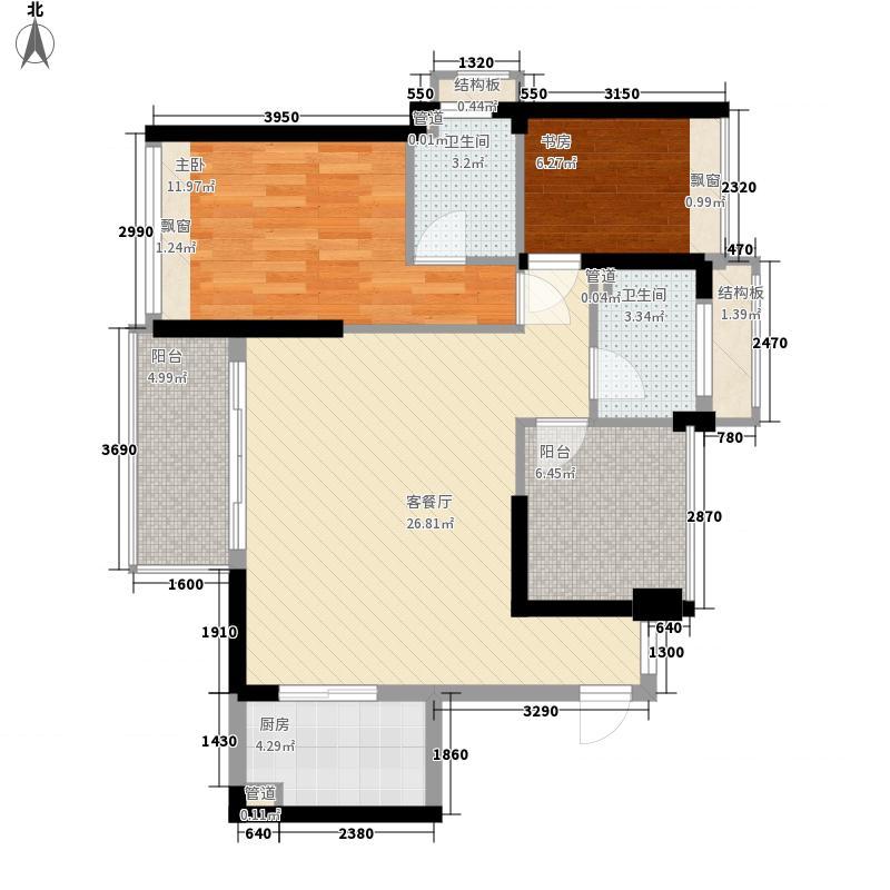 荣基嘉园86.30㎡1栋05户型3室2厅2卫1厨