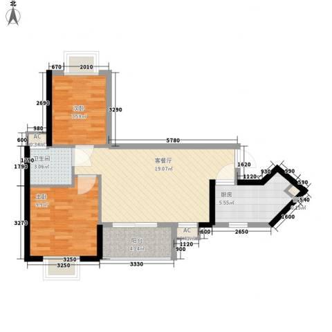 金碧领秀国际2室1厅1卫1厨73.00㎡户型图