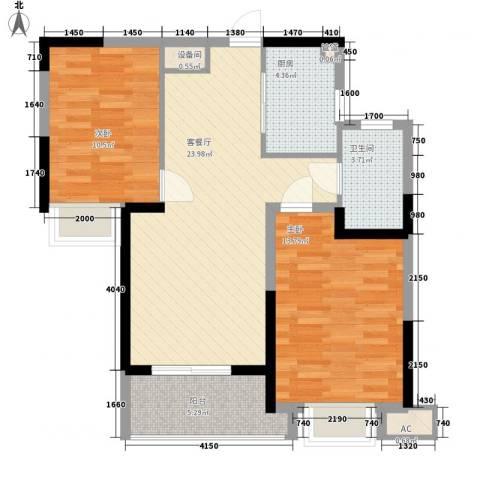 融科城2室1厅1卫1厨83.00㎡户型图