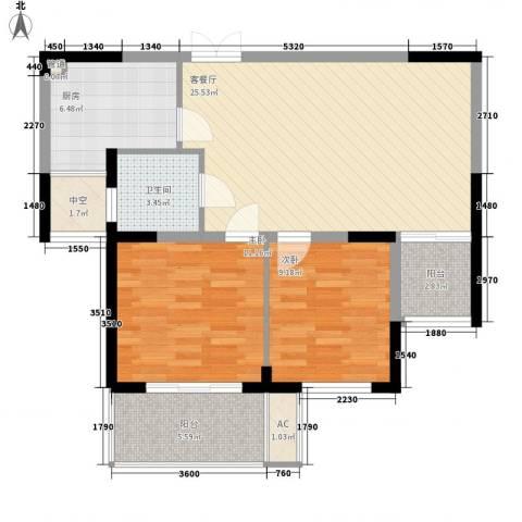 东方华庭2室1厅1卫1厨76.62㎡户型图