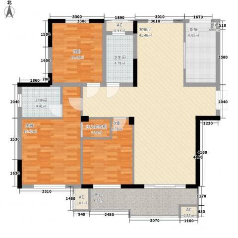 东方华庭3室1厅2卫1厨122.41㎡户型图