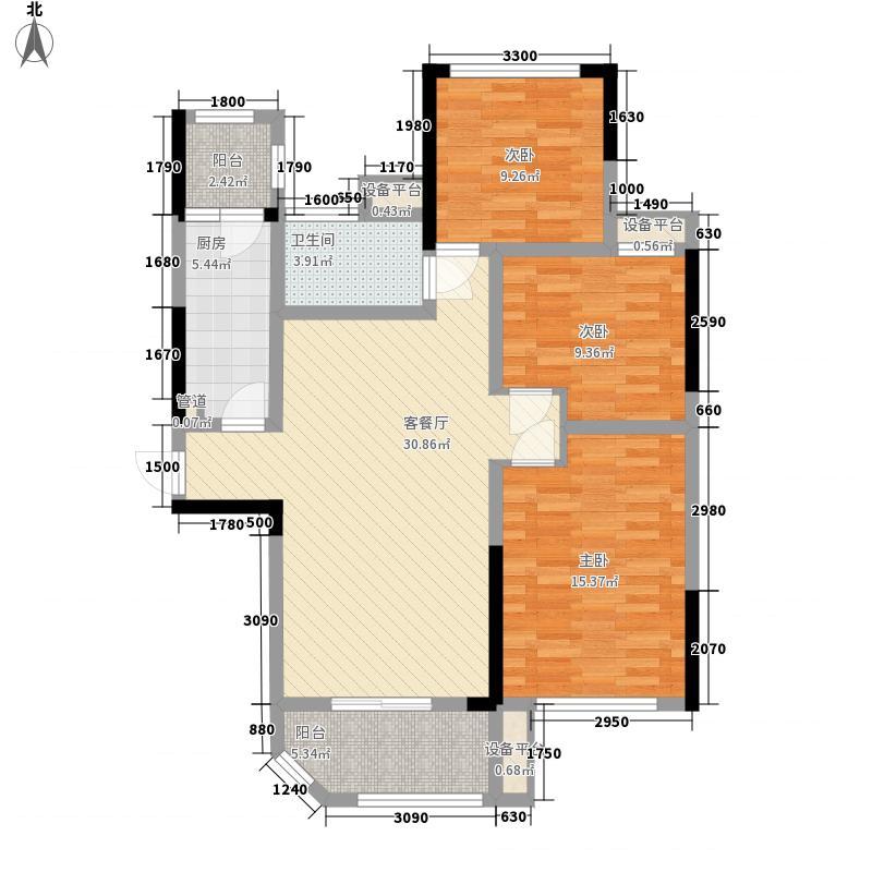 梧桐湾114.35㎡一期1#3#4#B户型3室2厅1卫1厨