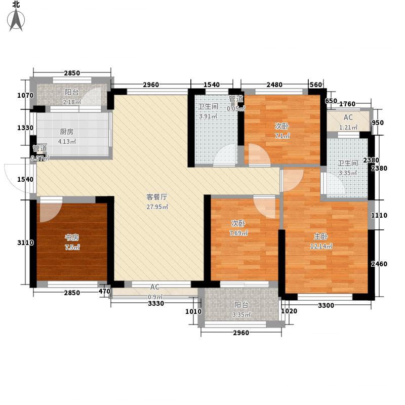 力高・君御国际88.00㎡2栋C户型4室2厅2卫1厨