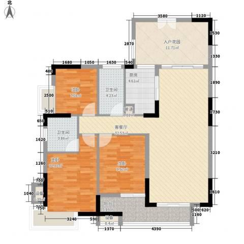 金域中央3室1厅2卫1厨120.00㎡户型图