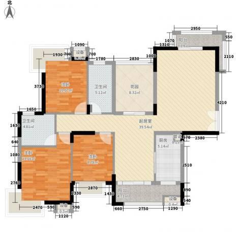 金域中央3室0厅2卫1厨129.00㎡户型图