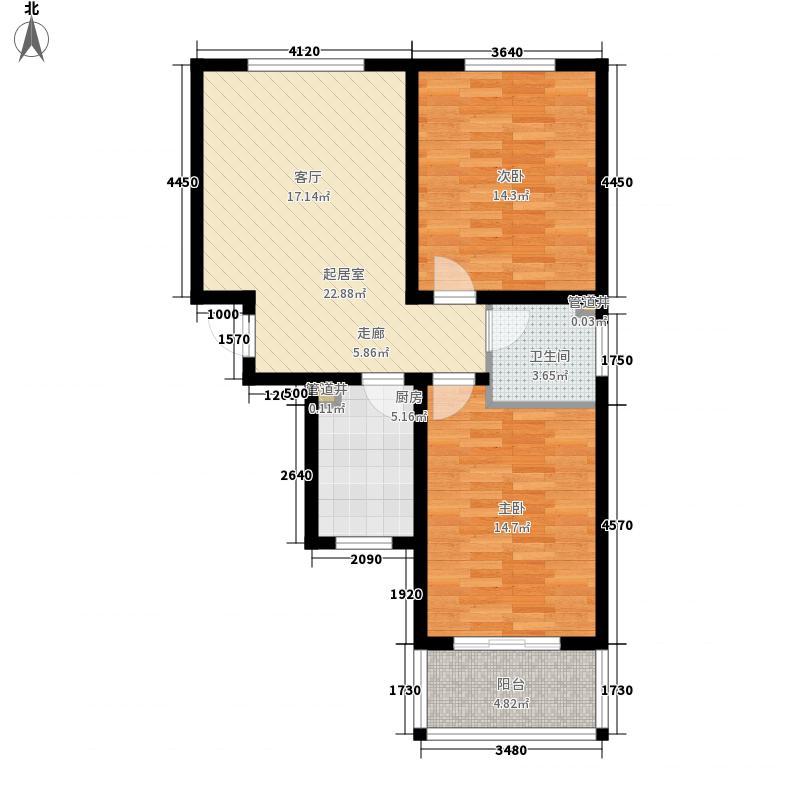 精信博雅园75.30㎡二期6、7号楼M户型2室1厅1卫1厨