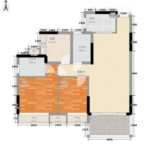 半山名苑别墅2室1厅2卫1厨85.00㎡户型图