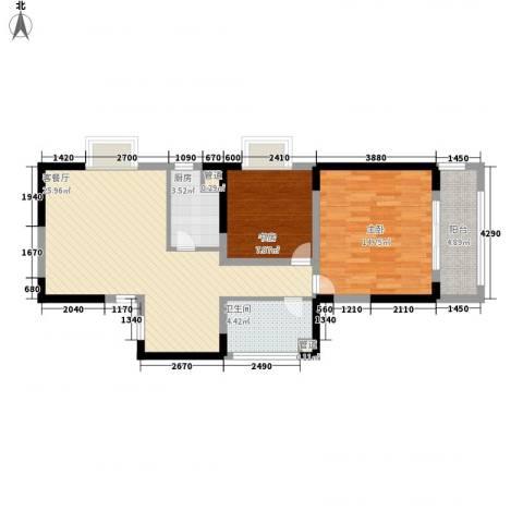 瑞和山水居2室1厅1卫1厨90.00㎡户型图