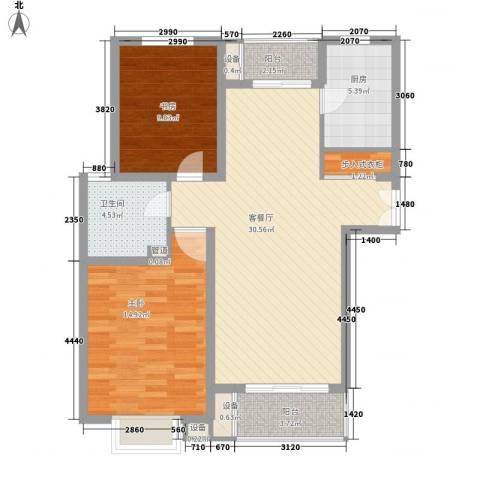 绿地海珀璞晖2室1厅1卫1厨106.00㎡户型图