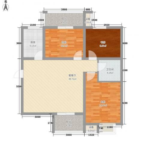 �灞雅苑3室1厅1卫1厨120.00㎡户型图