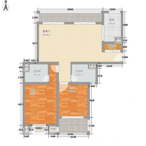 古北嘉年华庭2室1厅2卫1厨121.00㎡户型图