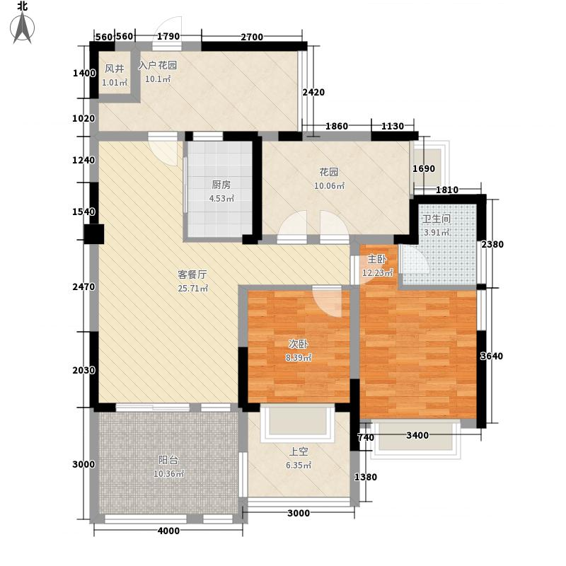 成都后花园国宾红�90.00㎡6、7号楼C户型2室2厅1卫