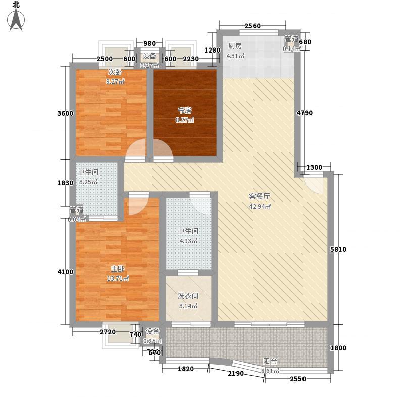 七彩学府苑A户型3室2厅2卫1厨