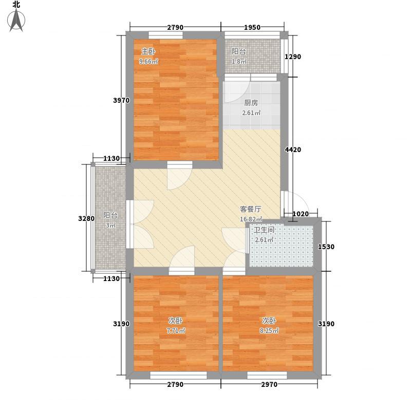 汉城国际72.00㎡汉城国际户型图10#A户型3室1厅1卫1厨户型3室1厅1卫1厨
