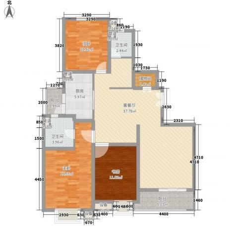 绿地海珀璞晖3室1厅2卫1厨144.00㎡户型图