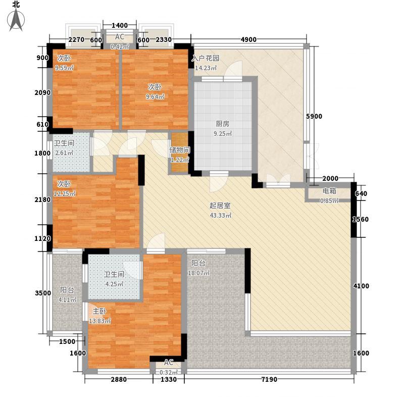 湘电友谊一号172.73㎡1期1#标准层F1户型4室2厅2卫