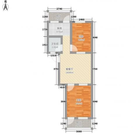 王官庄小区2室1厅1卫0厨67.00㎡户型图