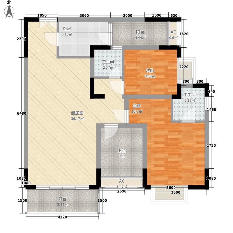 湘电友谊一号112.43㎡1期1#标准层D1户型2室2厅2卫