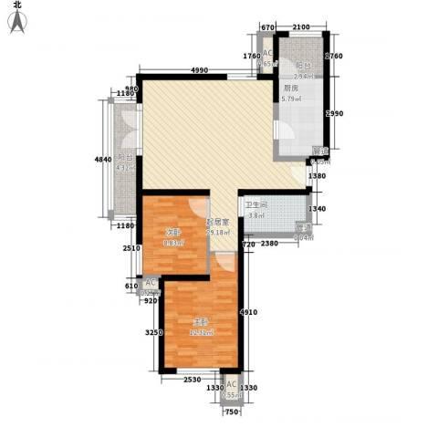 保利西山林语别墅2室0厅1卫1厨101.00㎡户型图