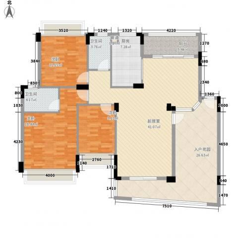雅居乐雍华廷别墅3室0厅2卫1厨153.00㎡户型图