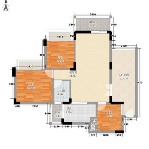 雅居乐雍华廷别墅3室0厅1卫1厨105.00㎡户型图