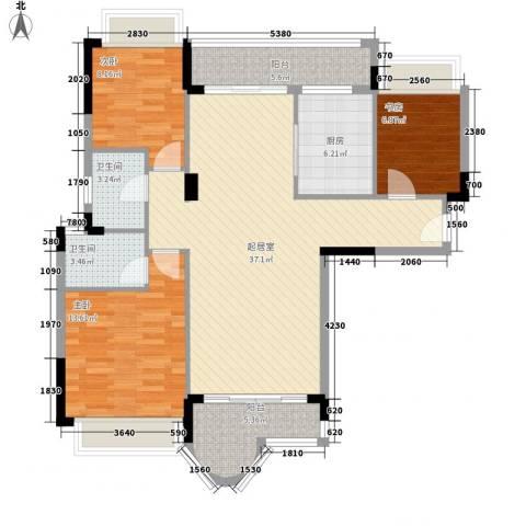 雅居乐雍华廷别墅3室0厅2卫1厨126.00㎡户型图