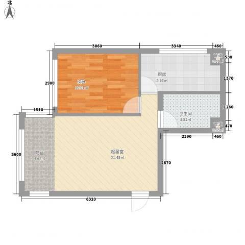 宇光万和城1室0厅1卫1厨63.00㎡户型图