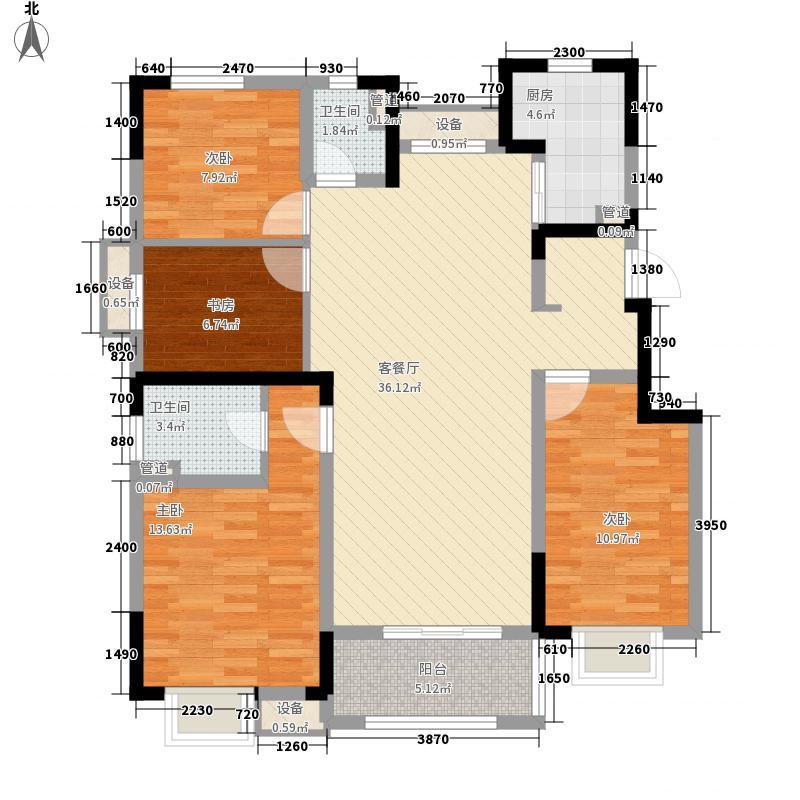 中交锦�荟项目135.00㎡高层标准户型4室2厅2卫1厨