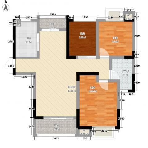 大唐金城3室0厅1卫1厨105.00㎡户型图